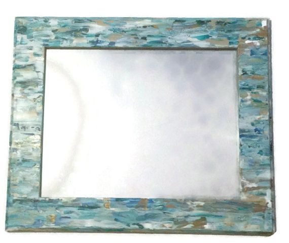 Seaglass inspired beach mirror Mosaic Style Mirror by MullaneInk, Etsy | Coastal Decor