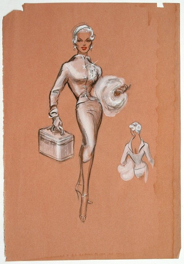 Esquisse et Croquis - Edith Head - Costumière à Hollywood - Marilyn Maxwell - Rock My Baby - 1958