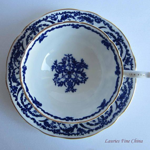 Coalport Un-named Blue and White with Gold Edge Wide Mouth