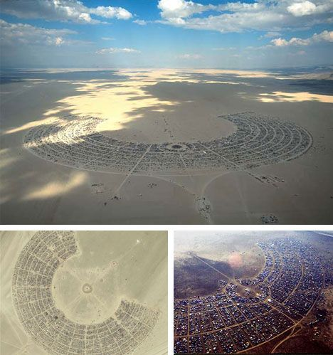 Black Rock (Temporary) City of 25,000 People - aka Burning Man Festival - from Above