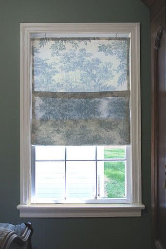 easy window covering - love the toile - for master bathroom window.