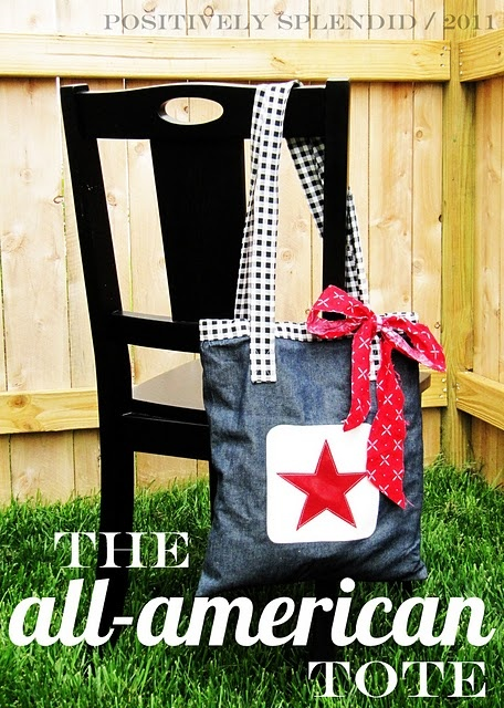 The All American Tote. What an adorable idea for the summer! #sewing: Sewing, Tutorials, Tote Tutorial, Recipe, Splendid Crafts, Home Decor, All, All American Tote