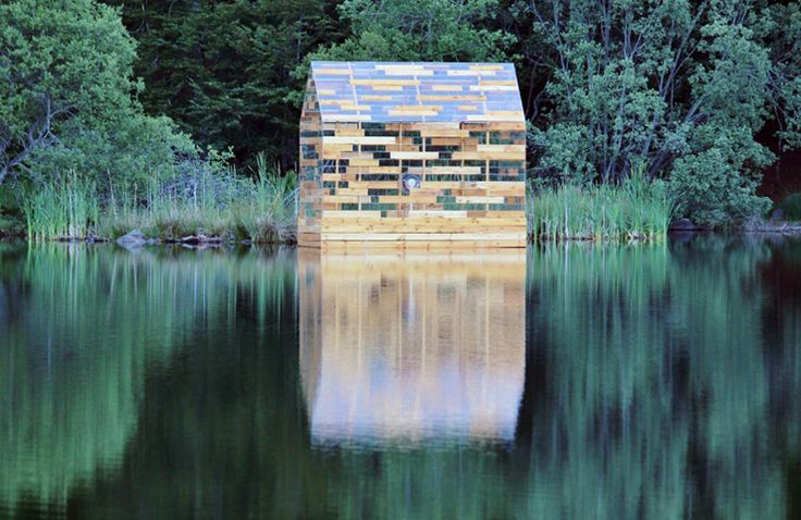 Walden Raft, by Elise Morin and Florent Albinet, is a cabin floating in a French lake.