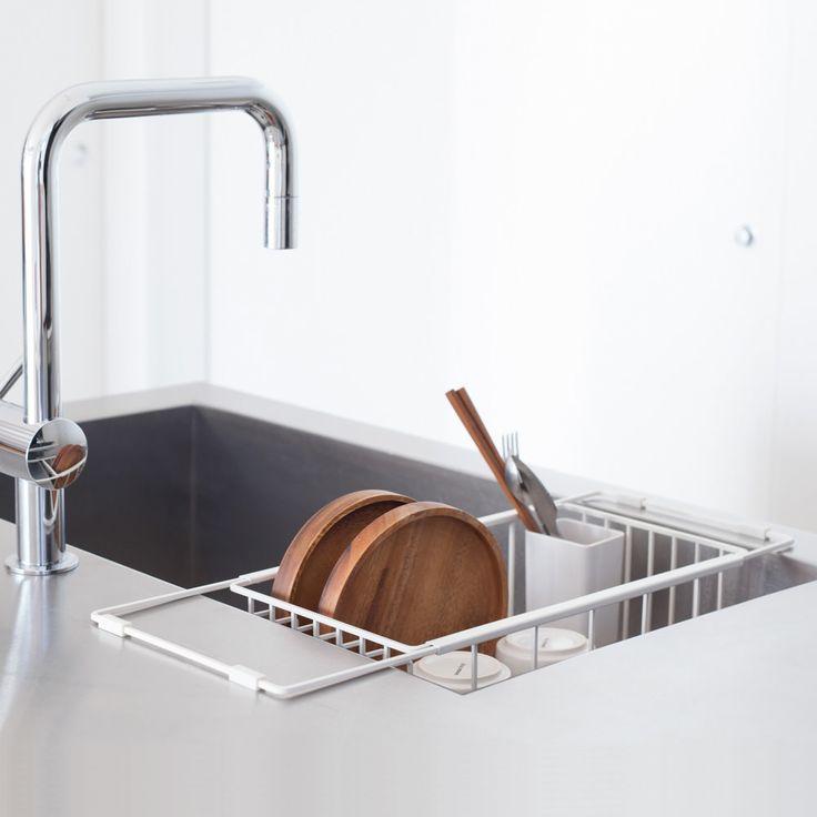 水切りかご  18-8ステンレス製で耐久性に優れシンプル。水切りかご 水切りラック 水切りかご キッチン [nsp ディッシュラック(ホワイト)] ステンレス キッチン 水切り 食器 ディッシュラック (by_sarasa-design)