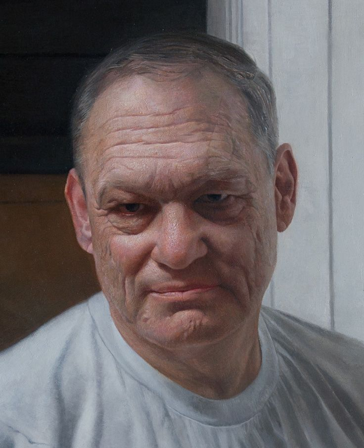 """Portrait of My Father"" - David Jon Kassan, oil on panel, 2010 {contemporary realism artist male head #hyperreal man face portrait cropped painting detail} davidkassan.com"