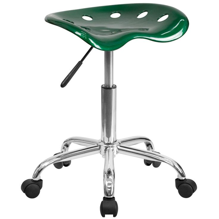 Green Office Stool with Tractor Seat and Chrome Frame