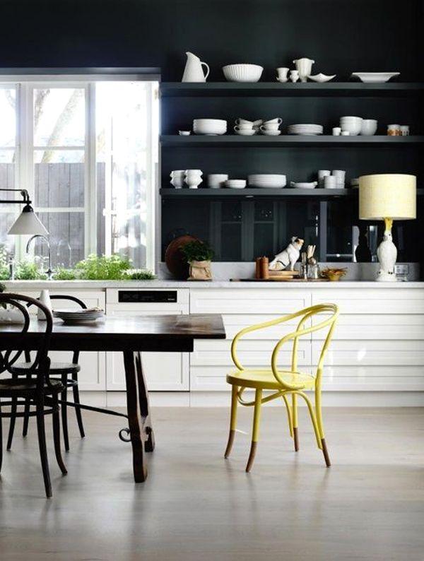 Dark open shelving in the Melbourne kitchen of stylist Fiona Richardson. Photo by Derek Swalwell.