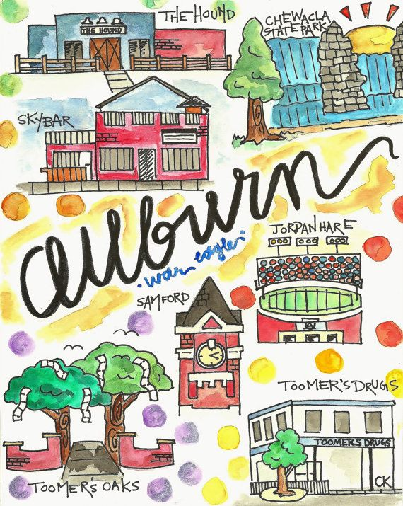 Auburn Alabama Original Watercolor Landmark Print $15