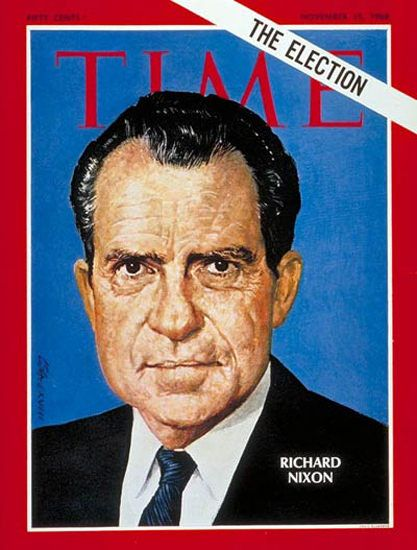 "1968-11 Richard Nixon Copyright Time Magazine - www.MadMenArt.com | Time Magazine Covers feature a chronological timeline of cover personalities and celebs – a unique kind of ""Who's Who."" #TimeMagazine #Vintage #Time #Magazines #Covers #MagazineCovers# #Covers #Celebs #Celebrities #History"