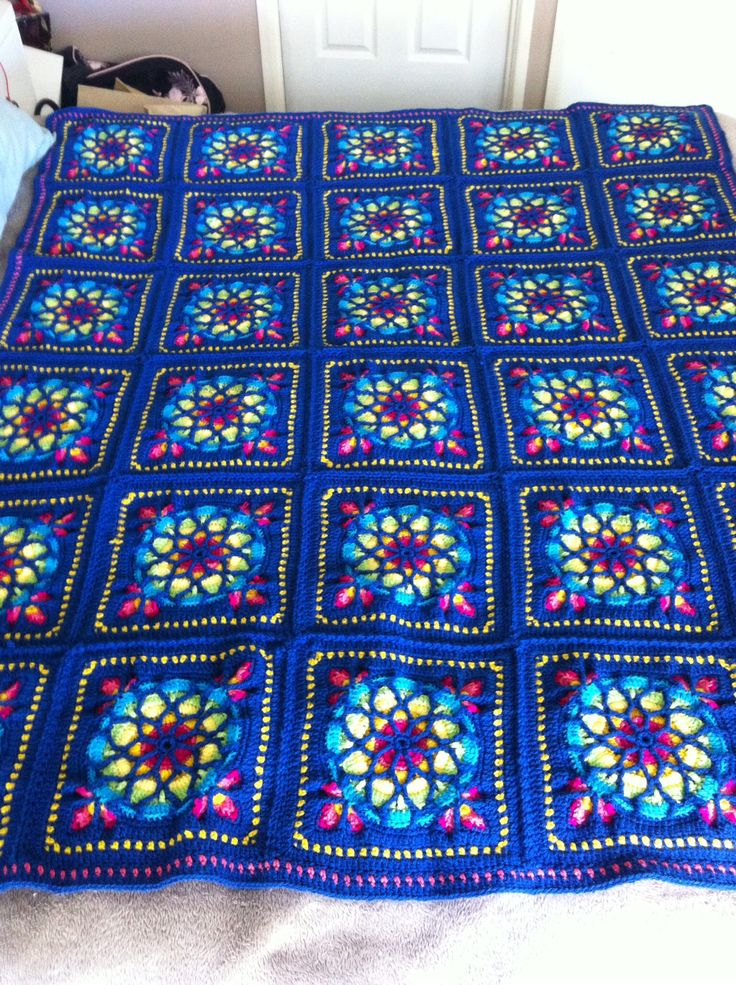 Stained Glass Window Crochet Afghan. Ravelry pattern.