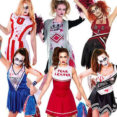 Zombie #cheerleader + blood ladies #fancy dress #halloween horror womens costume,  View more on the LINK: http://www.zeppy.io/product/gb/2/381787823624/