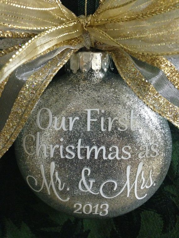 Our First Christmas as Mr. & Mrs. Glass Ornament by LilyLuGifts, $14.00 @Marla Stanford make this!!!!