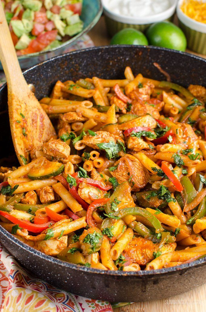 Low Syn Fajita Chicken Pasta - all the best component to fajita's made into a Slimming World family friendly dish.
