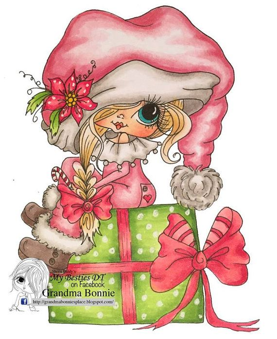 INSTANT DOWNLOAD Digital Digi Stamps Big Eye Big Head Dolls Digi  Img900 Christmas By Sherri Baldy