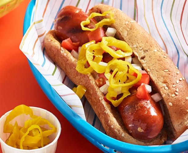 All-American Hot Dogs: Use Lindsay Golden Greek Pepperoncinis to spice up a simple hot dog lunch.