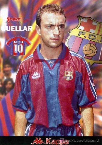 1995-97 Ángel Cuéllar scored 2 league goals in 20 games as an attacker. A player with much promise, he was injured in his very first match for FCB. He missed out on much of the blaugrana's success:  UEFA Cup Winners' Cup: 1996–97; Copa del Rey: 1996–97; Supercopa de España: 1996