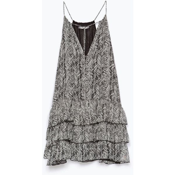 Zara Printed Dress With Frills featuring polyvore, fashion, clothing, dresses, vestidos, flounce dress, frilly dress, black ruffle dress, black flounce dress and frill dress