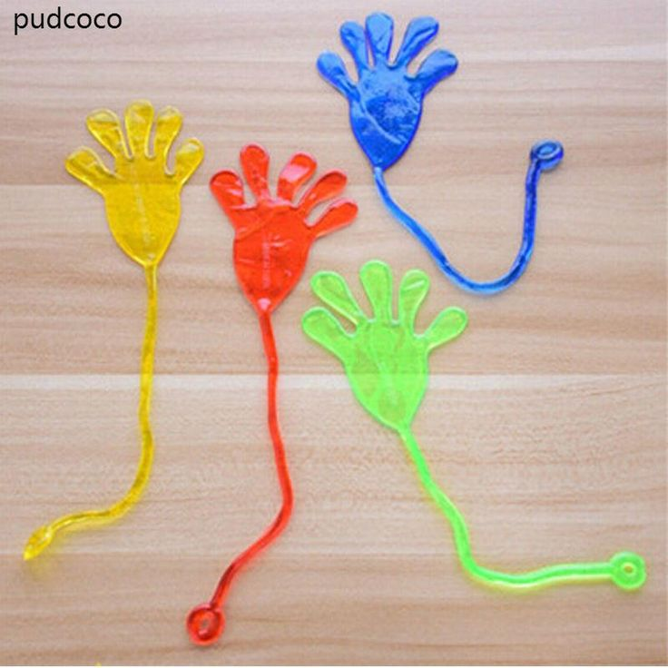 KIDS CHILDREN TOY ELASTIC STICKY SQUISHY SLAP HANDS PALM FLEXIBLE PRACTICAL JOKES RANDOM.
