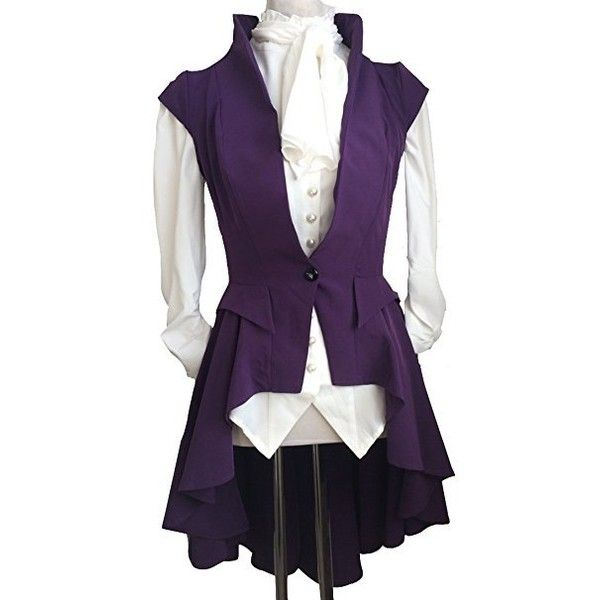 Plain Purple Steampunk Victorian Gothic Waterfall Asymmetric Long... (€34) ❤ liked on Polyvore featuring outerwear, vests, pirate, tops, waistcoat, goth vest, steampunk vest, victorian waistcoat, steam punk vest and steampunk waistcoat