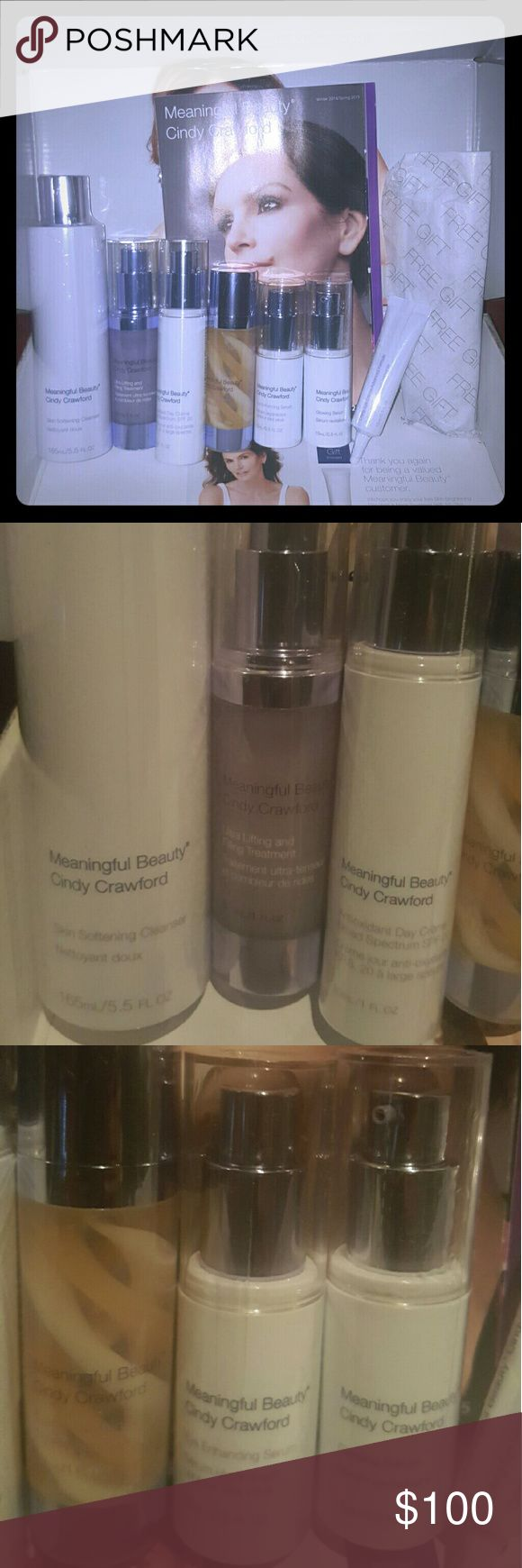 Meaningful Beauty by Cindy Crawford Package includes (1) skin softening cleanser, (1) ultra lifting and filling treatment, (1) antioxidant day cream, (1) creme de serum (1) eye enhancing serum, (1) eye enhancing serum, (1) glowing serum, (1) lifting eye creme advanced formula, and (1) free gift. Also includes a brochure and ingredient guide. Cindy Crawford Other