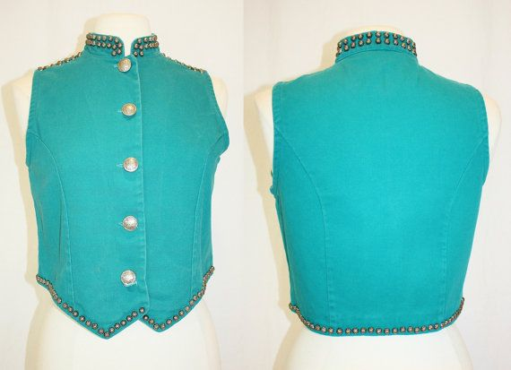 1990s Southwestern Vest Turquoise Metal Studded by Retromomo