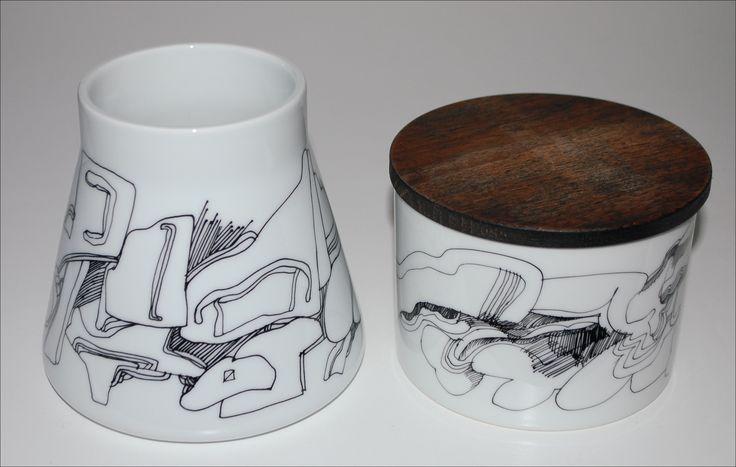 Steen Lykke, Bing & Gröndahl. Vase og lidded bowl in porcelain. Vase: H: 12. W: 13 cm. Lidded bowl: H: 9. W: 11,5 cm.
