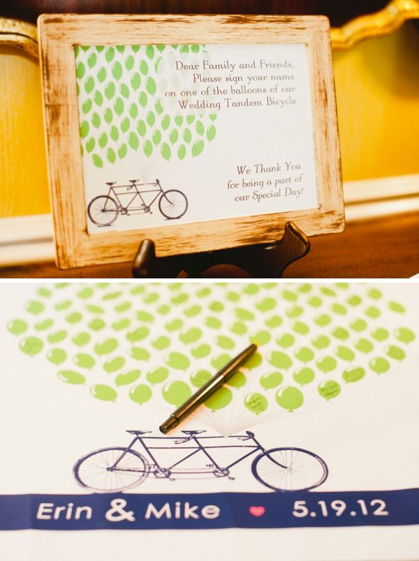 tandem bike + balloons guest book sign