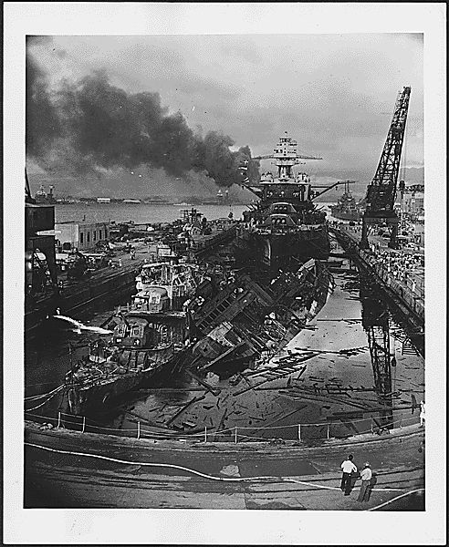 The aftermath of the Pearl Harbor attack, Dec 7, 1941.