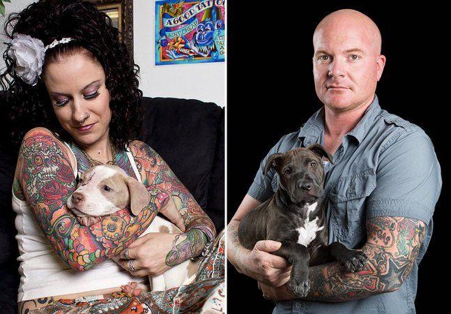 Da mesma forma que uma pessoa tatuada já recebeu olhares tortos na rua e talvez já tenha sido rejeitada em uma entrevista de emprego, devido ao mais puro preconceito, um cãozinho já foi abandonado e rejeitado simplesmente por ser um Pit Bull ou um Rottweiler, raças tidas como violentas. Para tentar combater essas ideias, que perduram em pleno 2014, o fotógrafo norte-americano Brian Batista criou uma série incrível em que retrata pessoas tatuadas e seus cães adotados. Diferente do estigma de…