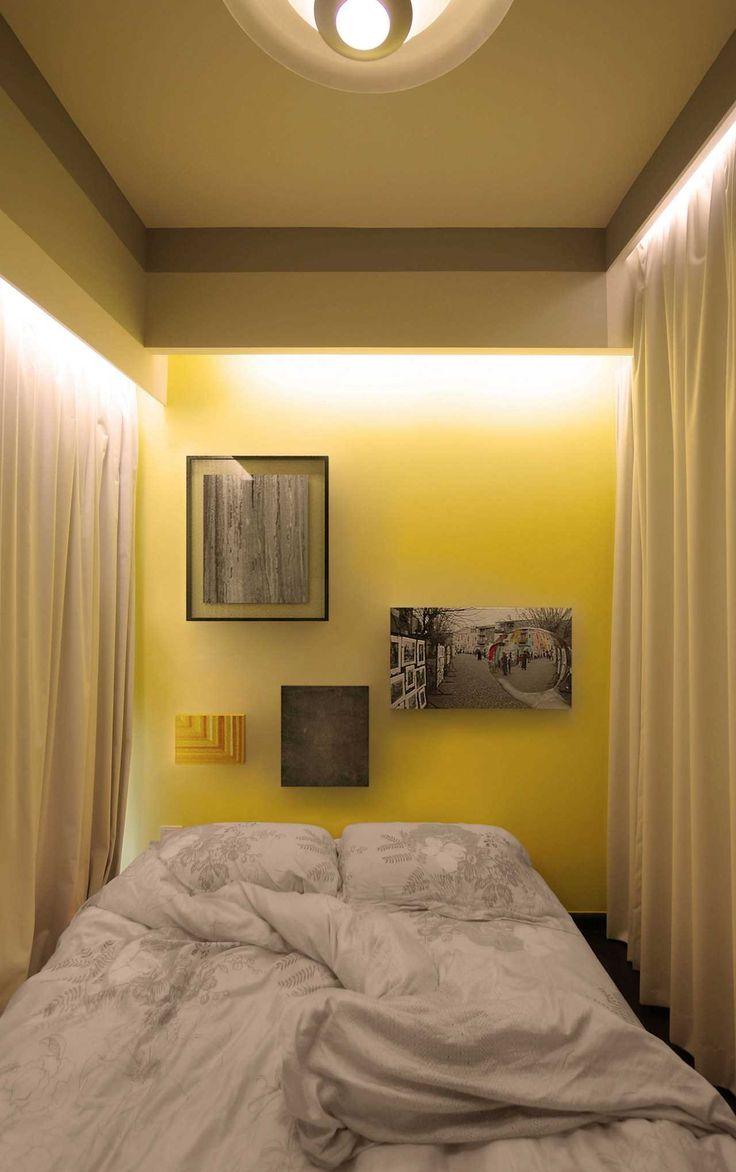Маленькая квартира со шторами в Сингапуре