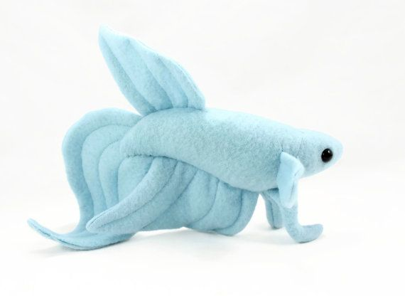 Baby blue veil tail betta fish stuffed animal plushie for Fish stuffed animal