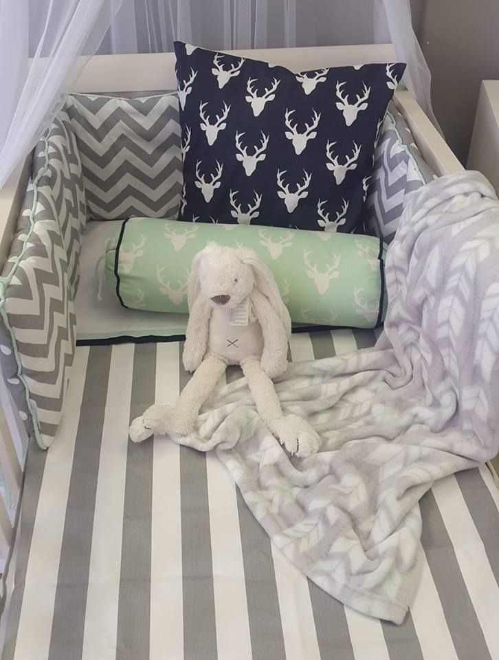 A #simple combination of #GreyandWhite, #Stripe and #ZigZags, is perfect for any #NeutralNursery; it allows for touches of colour, like our #Mint and #Navy #BuckHeads :)  #BabyBedding #BabyLinen