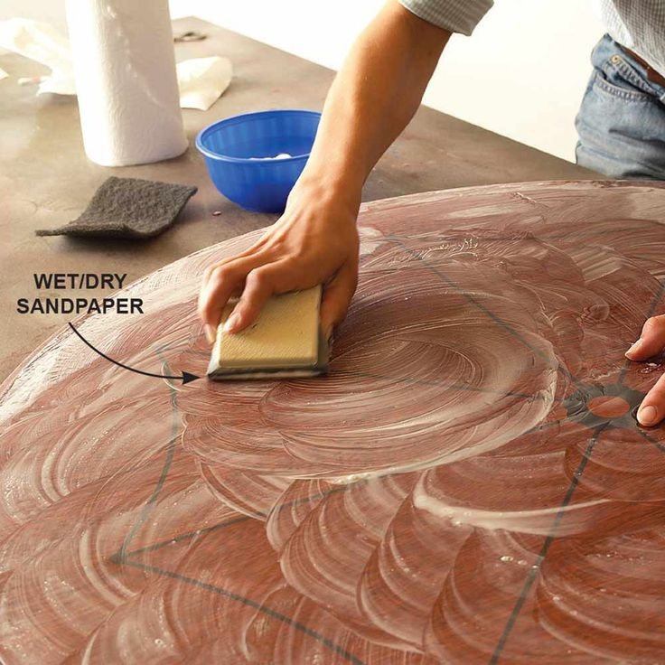 Sand Fine Surfaces With Wet/Dry Sandpaper - 20 Wood Finishing Tips: http://www.familyhandyman.com/woodworking/staining-wood/wood-finishing-tips