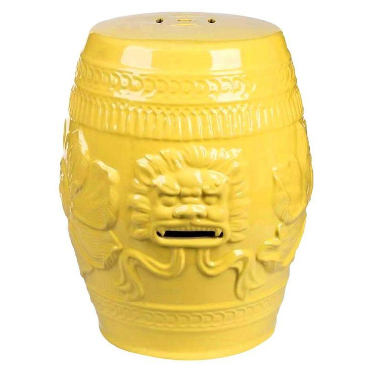 Chinese Lion Yellow Ceramic Garden Stool - Abbyson Living