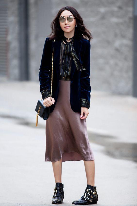 d6d5b89f82f7e Beige Rose Silk Skirt Fall trends silk slip skirt Midi long silk ...