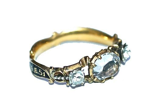 A permutation of the memento mori crystal ring, dated 1764.