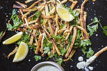 Baked parsnip fries with cashew aioli