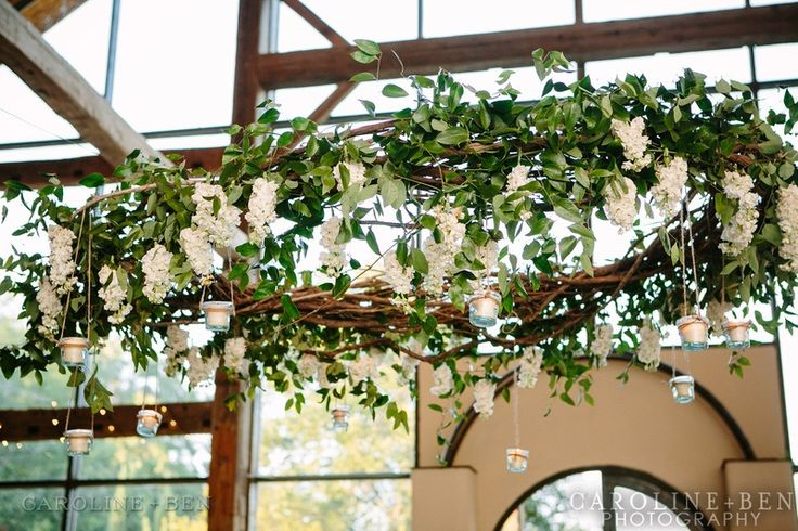Hanging centerpiece continuous medium green and floral for Decor hanging from ceiling