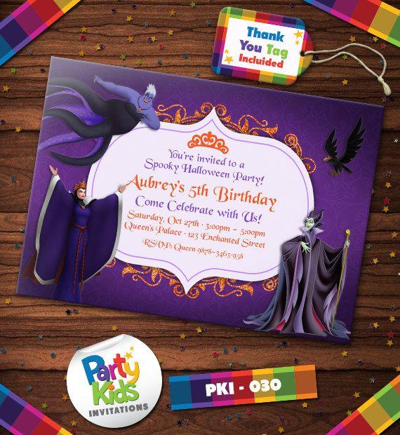 Villains Halloween, Villains Party, Walt Disney, Villains Invitations, Free Thank You Tag  PKI-030