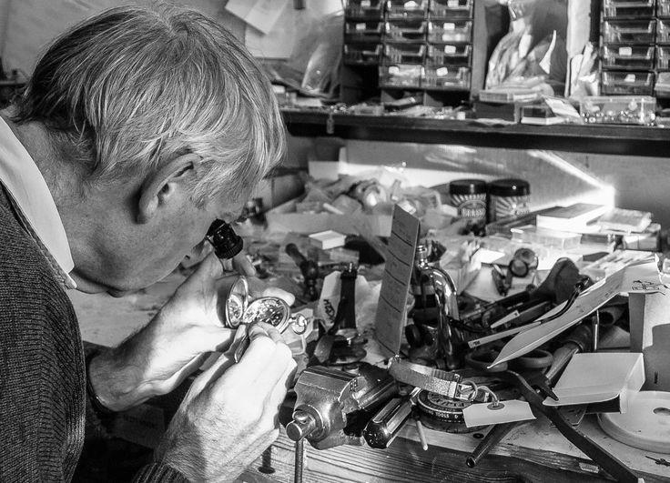 Stephen Tomlinson a watchmaker in his workshop in Beverley, East Yorkshire.