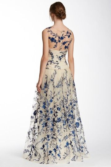 Image of Marchesa Illusion Neck Floral Embroidered Gown