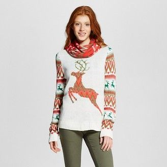Self Esteem Fair Isle Reindeer Sweater with Scarf - Shop for women's Sweater -  Sweater