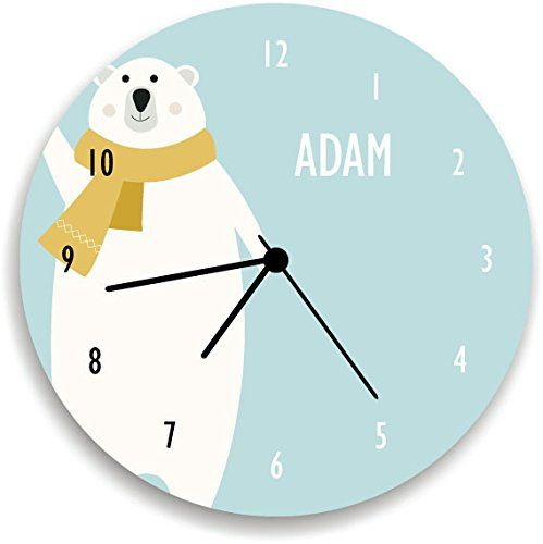 "Polar BEAR Personalized WALL CLOCK , Nordic Nursery Room Decor. Nursery Wall Clock, Giving a new atmosphere to any nursery! Measurements approximately 10.62"" Diameter and 0.14"" high The printed is adhered to the wood, This quality print come with brilliant laminated. The edges are painted dark color in order to make the perfect ending to the wall clock. Our kid-friendly wall clocks are for indoor use only. All wall clocks can be clean with a soft dry cloth. The clock requires one AA…"