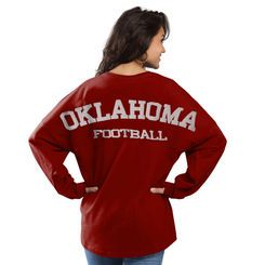 Women's Cardinal Oklahoma Sooners Football Sweeper Long Sleeve Oversized Top