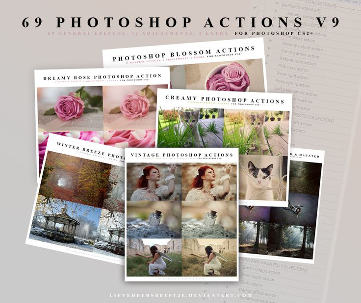 Bundle of 69 Free Photoshop Actions created by lieveheersbeestje (on DeviantArt)
