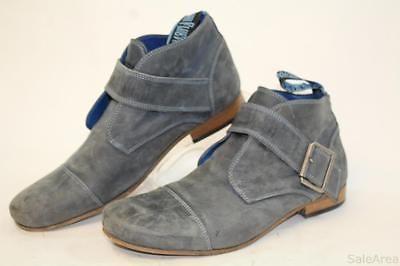 John Fluevog Radio Mens 8 Slate Grey Nubuck Leather Ankle Strap Boots Shoes jp