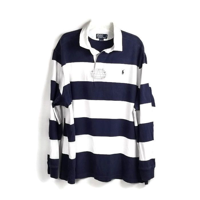 Vintage Polo Ralph Lauren Rugby Shirt Size Xxl Striped Blue White