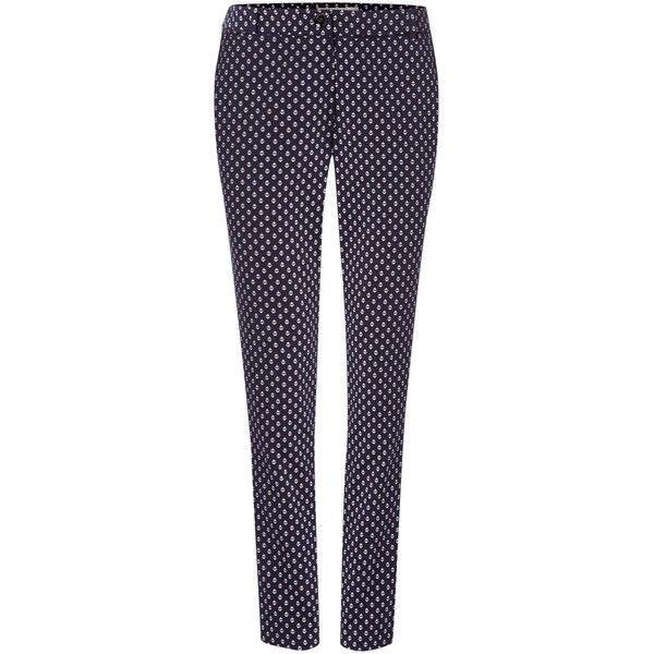 Marella Araldo Anchor Print Slim Leg Trouser (4.225 RUB) ❤ liked on Polyvore featuring pants, sale women trousers, cotton trousers, slim leg pants, tailored trousers, purple pants and marella