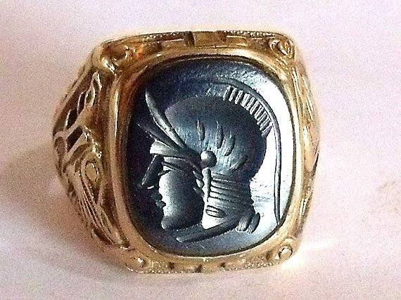 10K Hematite Intaglio Ring  - Mens Art Nouveau Ring in 10K Yellow Gold with Left Facing Cameo -  Size 9 by Kinsley and Sons Gothic