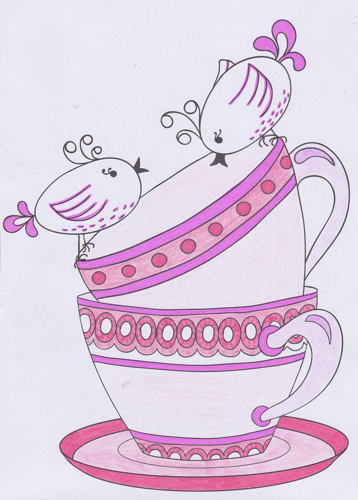 Pink teacups & Birds
